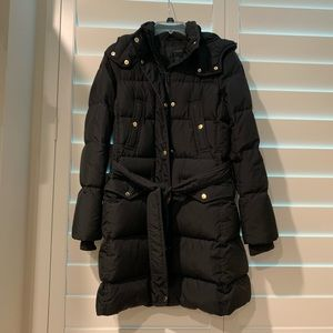 J. Crew Women's Black belted puffer parka coat